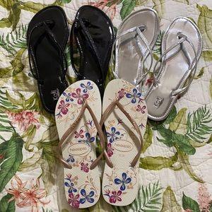 3 pair Thong sandals Havaianas & Kali